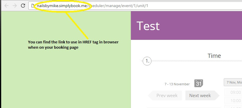 Go to your booking page, and in the browser you can find the part to use in the href tag.