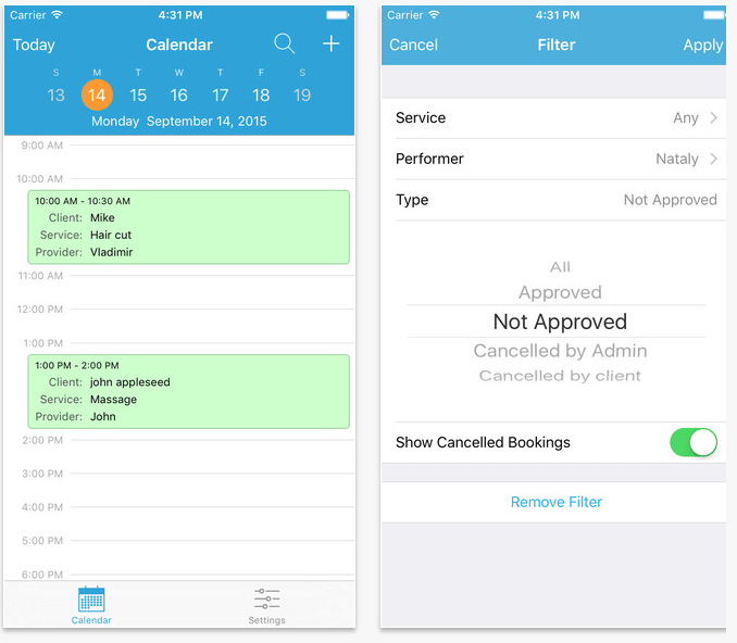 Appointment booking app for iOS