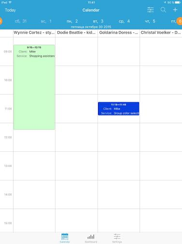iPad appointment app - calendar view