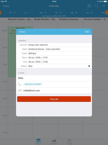 ipad appointment app - new booking