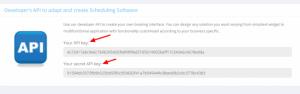 Copie e cole as chaves de API no plugin WordPress do SimplyBook.me.
