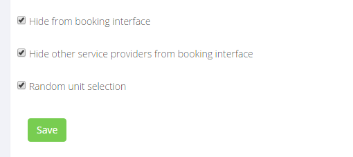 Check the boxes and set providers as hidden to simplify booking process for classes.