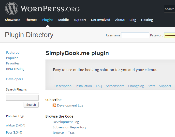 WP plugin upgrade for the appointment widget – SimplyBook me