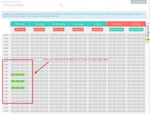 Nas configurações do horário de funcionamento dos provedores, você pode escolher quando a aula ocorre e os clientes podem fazer reservas para participarem da aula.