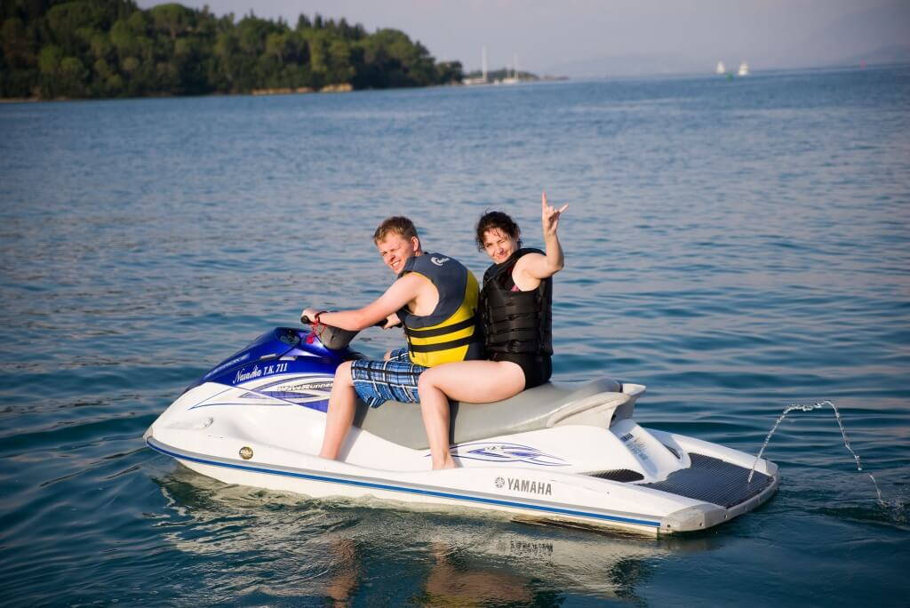 Playing on jet skis
